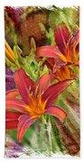 Striking Daylilies - Digital Art Bath Towel