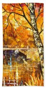 Strong Birch - Palette Knife Oil Painting On Canvas By Leonid Afremov Bath Towel