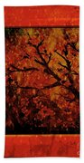 Stylized Cherry Tree With Old Textures And Border Bath Towel