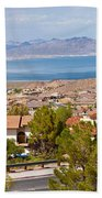Suburbs And Lake Mead With Surrounding Bath Towel