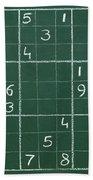 Sudoku On A Chalkboard Bath Towel