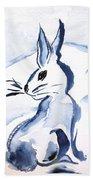 Sumi-e Snow Bunny Bath Towel