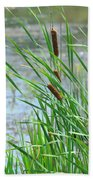 Summer Cattails In The Breeze Bath Towel
