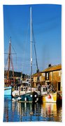 Summer Evening At The Harbour Bath Towel