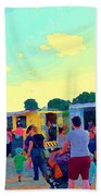 Summer Family Fun Paintings Of Food Truck Art Roadside Eateries Dad Mom And Little Boy Cspandau Bath Towel