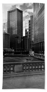 Summer On The Chicago River - Black And White Bath Sheet
