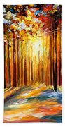 Sun Of January - Palette Knife Landscape Forest Oil Painting On Canvas By Leonid Afremov Bath Towel