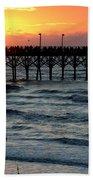 Sun Over Pier And Bird In Surf Bath Towel