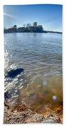 Sun Shining Over Lake Wylie In North Carolina Bath Towel