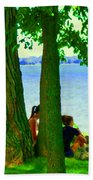 Sunday Picnic On The Lake Maple Trees At The Canal Pte Claire Montreal Waterscene Carole Spandau Bath Towel