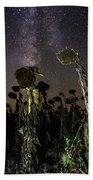 Sunflower Field At Night Bath Towel