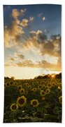 Sunflower Field Sunset Bath Towel
