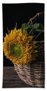 Sunflower In A Basket Bath Towel
