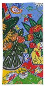 Sunflowers And Poppies Bath Towel