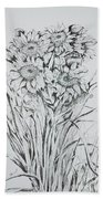 Sunflowers Black And White Bath Towel