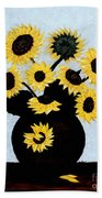 Sunflowers Expressive Brushstrokes Bath Towel
