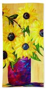Sunflowers In A Red Pot Bath Towel