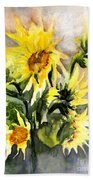 Sunflowers In Abstract Bath Towel