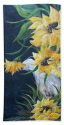 Sunflowers In An Antique Country Pot Bath Towel