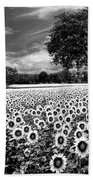 Sunflowers In Black And White Bath Towel