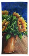 Sunflowers In Copper Bath Towel