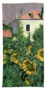 Sunflowers In The Garden At Petit Gennevilliers  Bath Towel