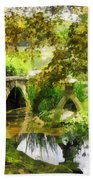 Sunlit Bridge In Park Bath Towel