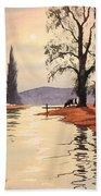 Sunlit River - Chess At Latimer Bath Towel
