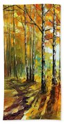 Sunny Birches - Palette Knife Oil Painting On Canvas By Leonid Afremov Bath Towel