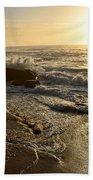 Sunrise Waves On The Rocks By Kaye Menner Bath Towel