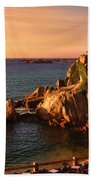 Sunset At Port Blanc - Cote De Granit Rose Bath Towel