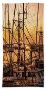 Sunset Boat Masts At Dock Morro Bay Marina Fine Art Photography Print Sale Bath Towel