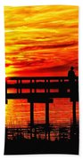 Sunset Fishing At The Pier Bath Towel