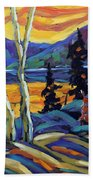Sunset Geo Landscape Original Oil Painting By Prankearts Bath Towel