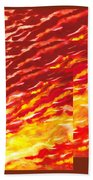 Sunset In Desert Abstract Collage  Bath Towel