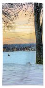 Sunset In The Snow Bath Towel