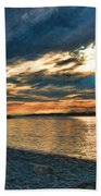 Sunset On Rocky Beach Hand Towel
