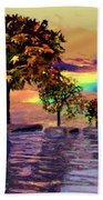 Sunset On Trees And Ocean Bath Towel