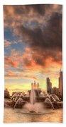 Sunset Over Buckingham Fountain Bath Towel