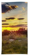 Sunset Over Field Of  Flowers Bath Towel