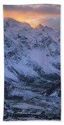 Sunset Over Mueller Glacier Lake Bath Towel