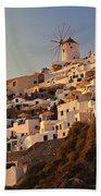 Sunset Over Santorini Village Bath Towel