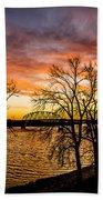 Sunset Over The Mississippi River Bath Towel