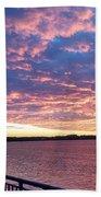 Sunset Over Verrazano Bridge And Narrows Waterway Bath Towel