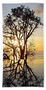 Sunset Silhouette And Reflections Bath Towel