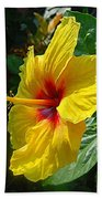 Sunshine Yellow Hibiscus With Red Throat Bath Towel