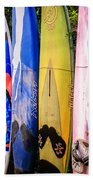 Surfboard Fence Maui Hawaii Bath Sheet by Edward Fielding