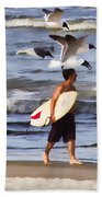 Surfer And The Birds Bath Towel