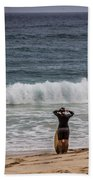Surfer Checking The Waves Bath Towel