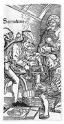 Surgeon Performing An Amputation. Woodcut From An Edition Of Hans Von Gersdoffs Feldtbuch Der Wundartzney, Strassburg, 1540 Bath Towel